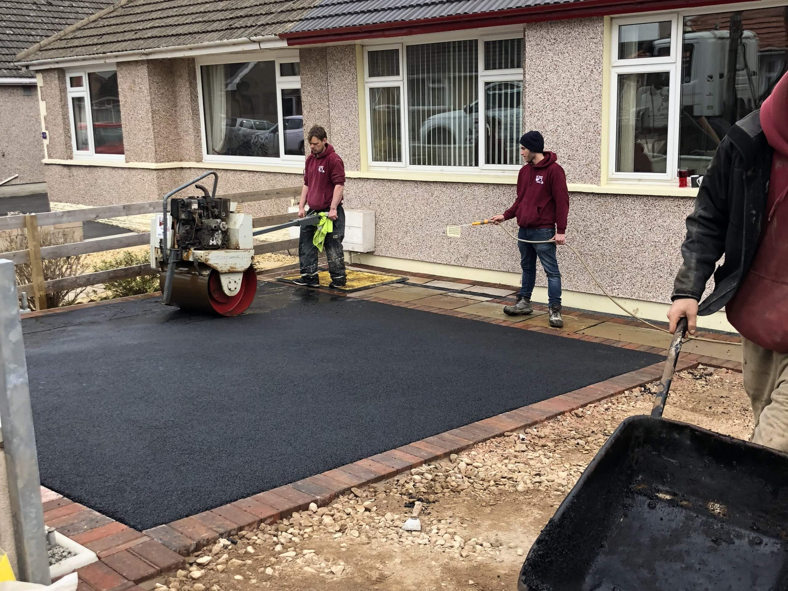 Completing Tarmac Driveway with Indian Sandstone in Lancaster, Lancashire