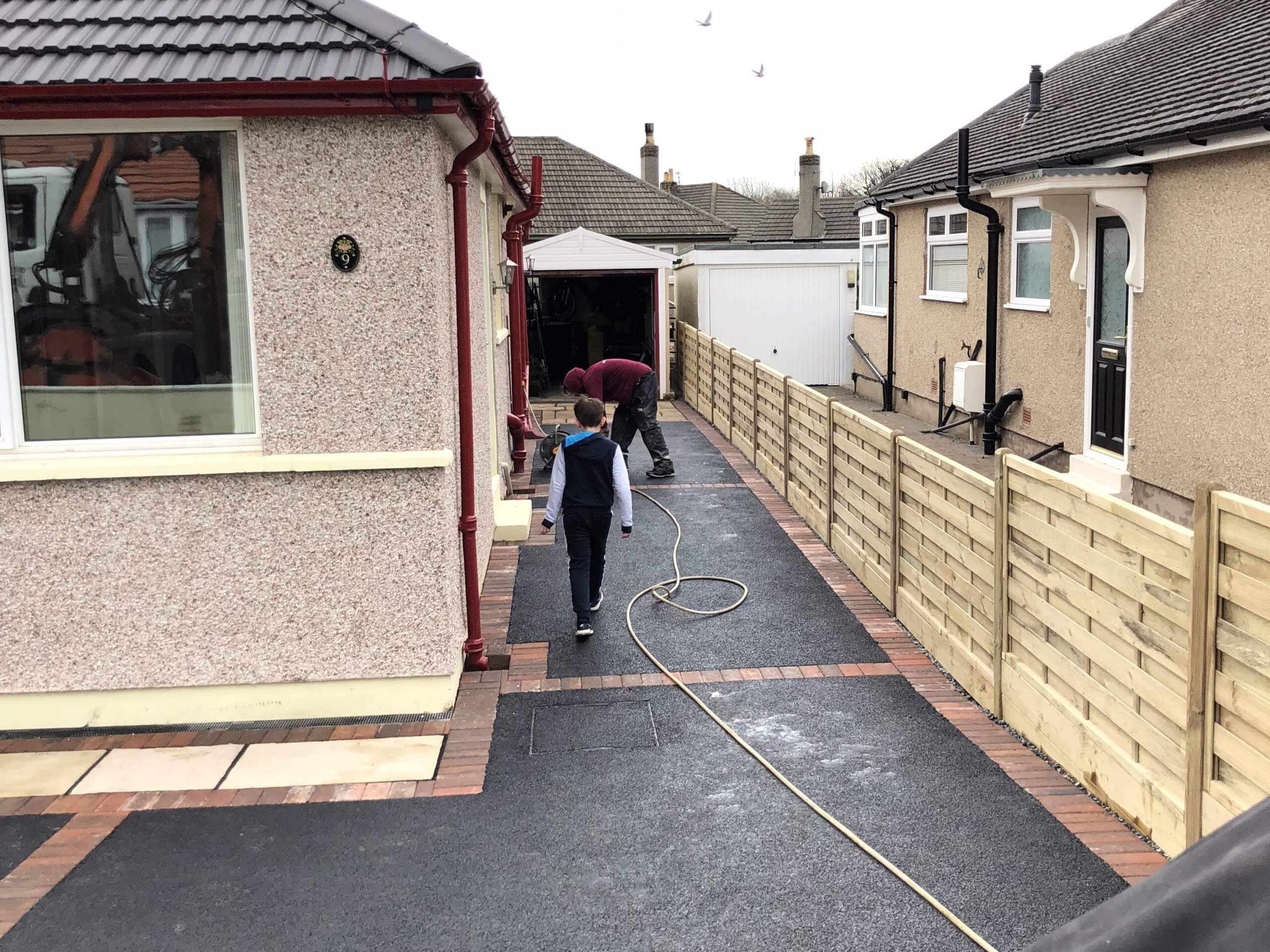 Alley view of Tarmac Driveway with Indian Sandstone in Lancaster, Lancashire