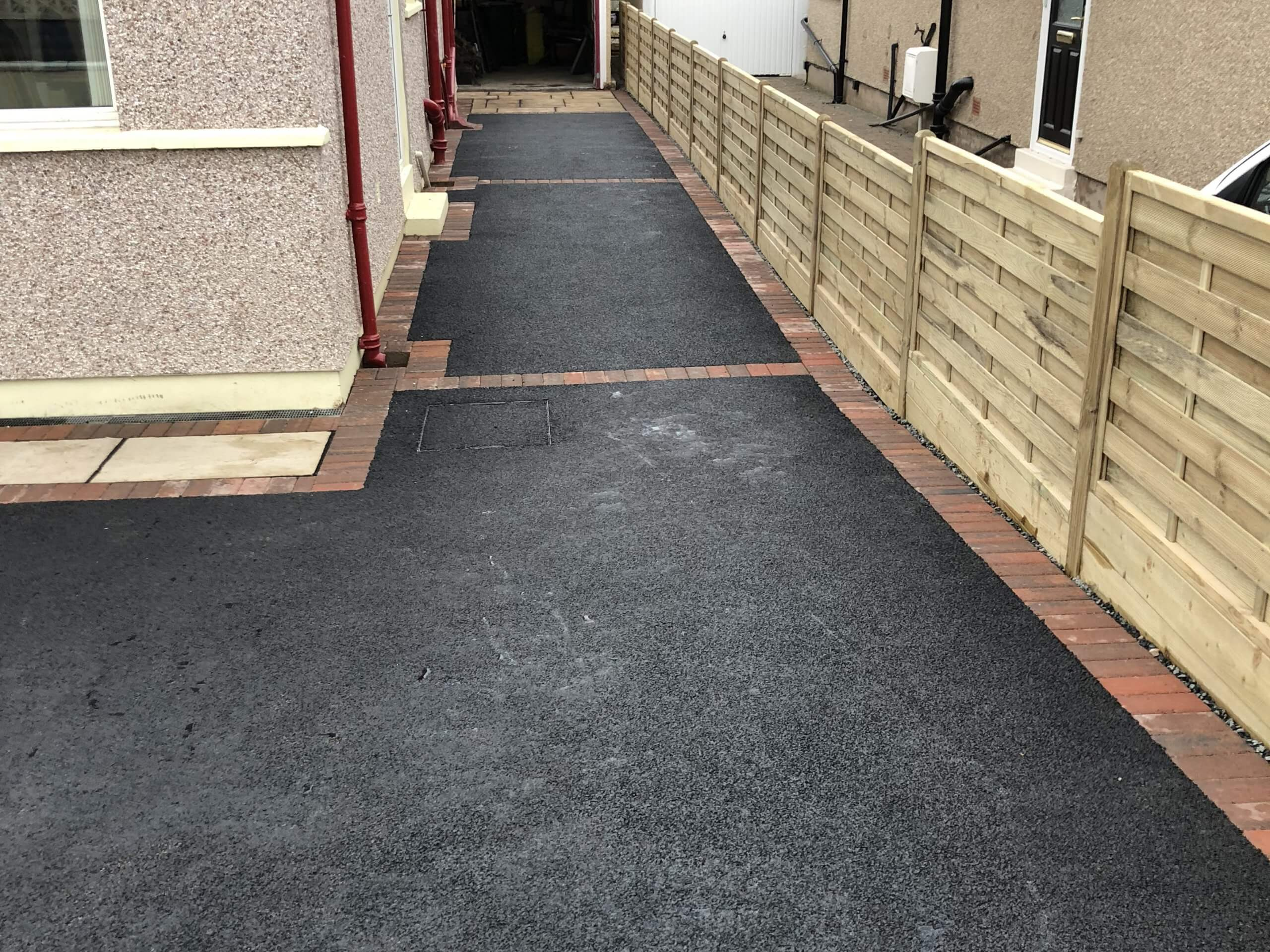Close up of finished Tarmac Driveway with Indian Sandstone in Lancaster, Lancashire