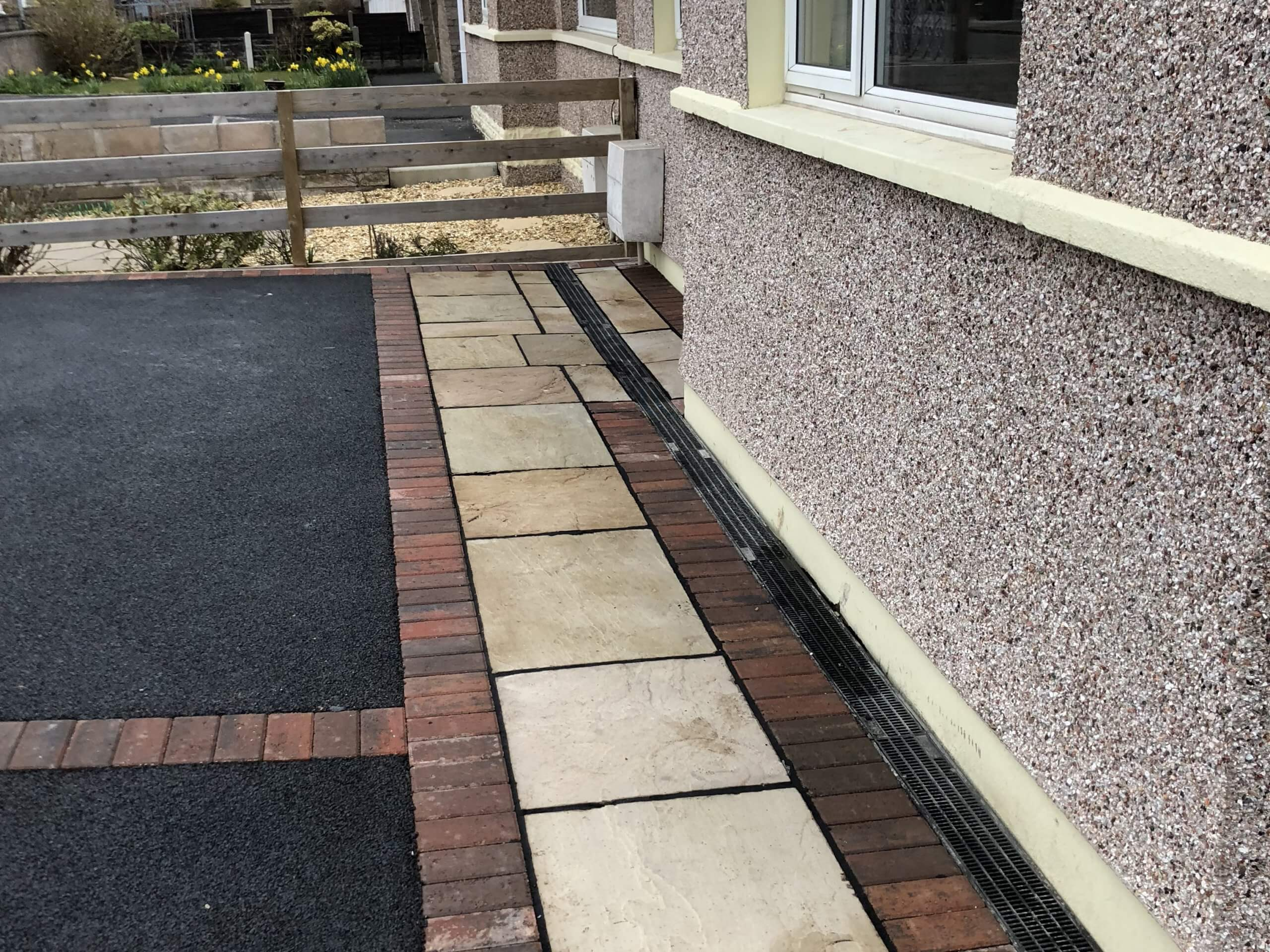 Close up of Indian Sandstone in Tarmac Driveway job done in Lancaster, Lancashire