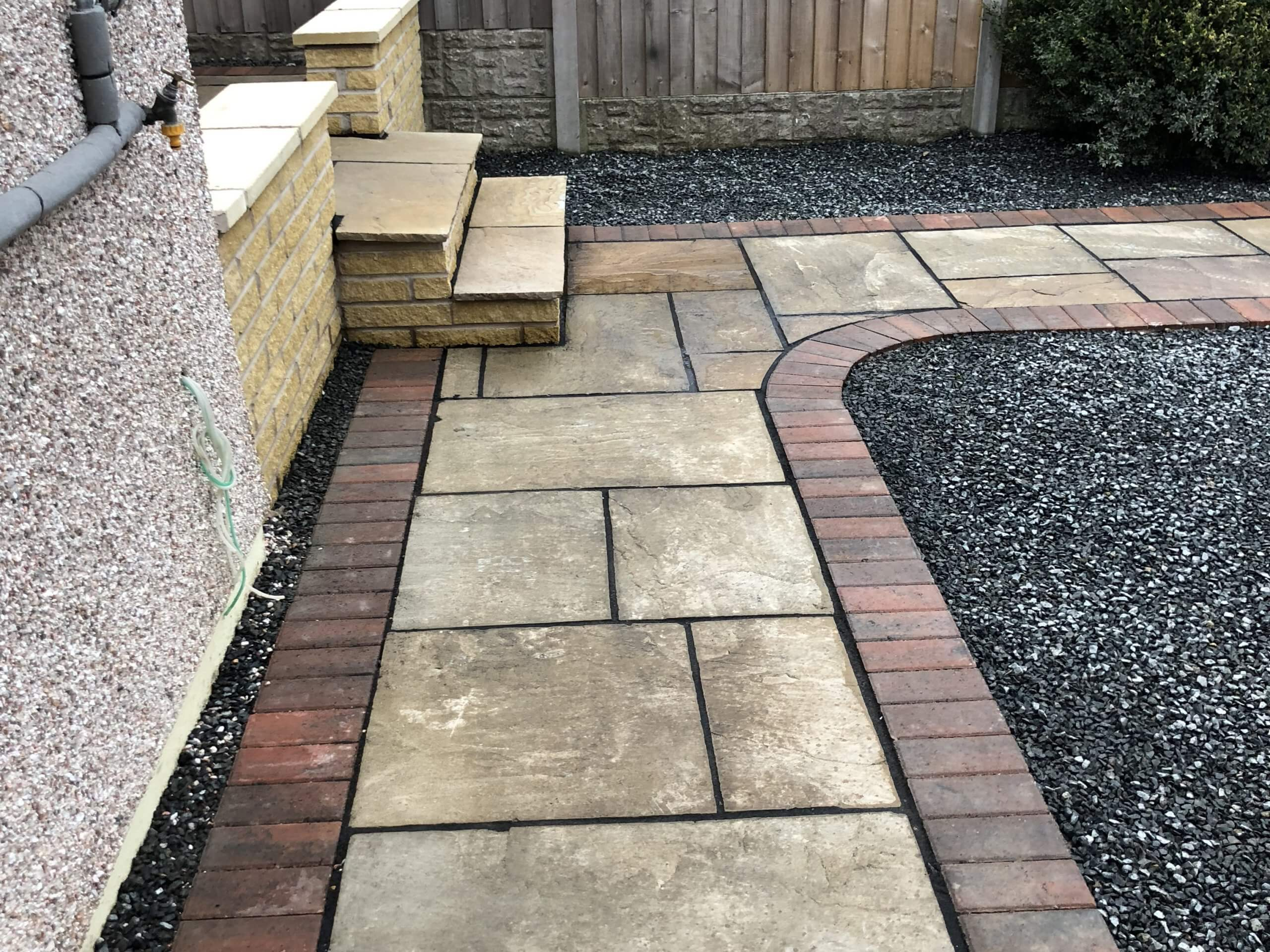 Indian stone pathway and tarmac drive in Lancaster