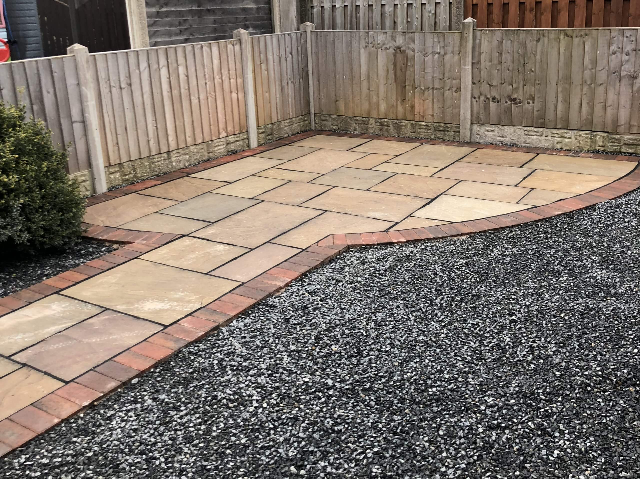 Indian Sandstone back garden with Tarmac Driveway in Lancaster, Lancashire