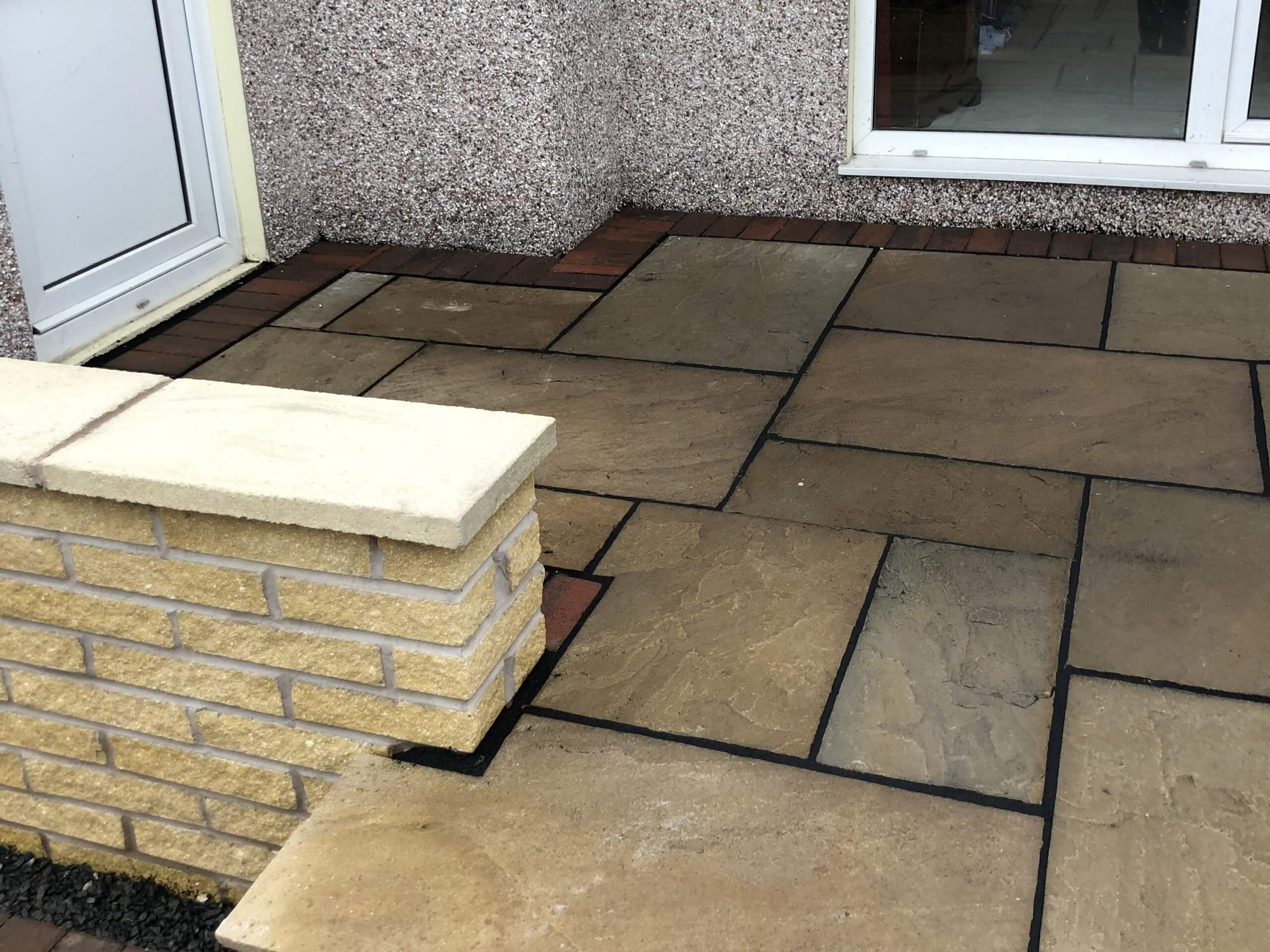 Indian Sandstone near house door of Tarmac Driveway job in Lancaster, Lancashire