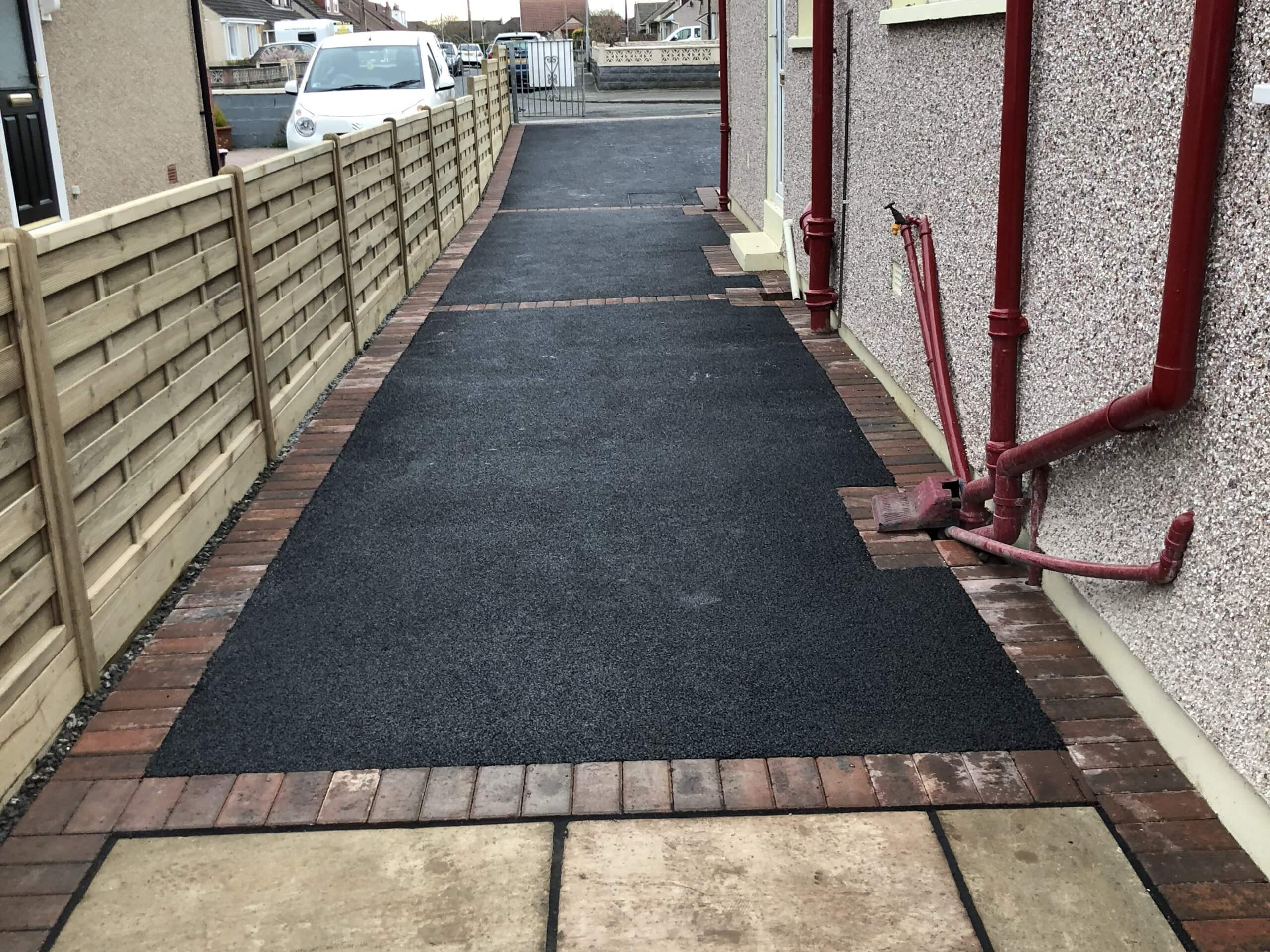 Looking out at Tarmac Driveway and Indian Sandstone in Lancaster, Lancashire