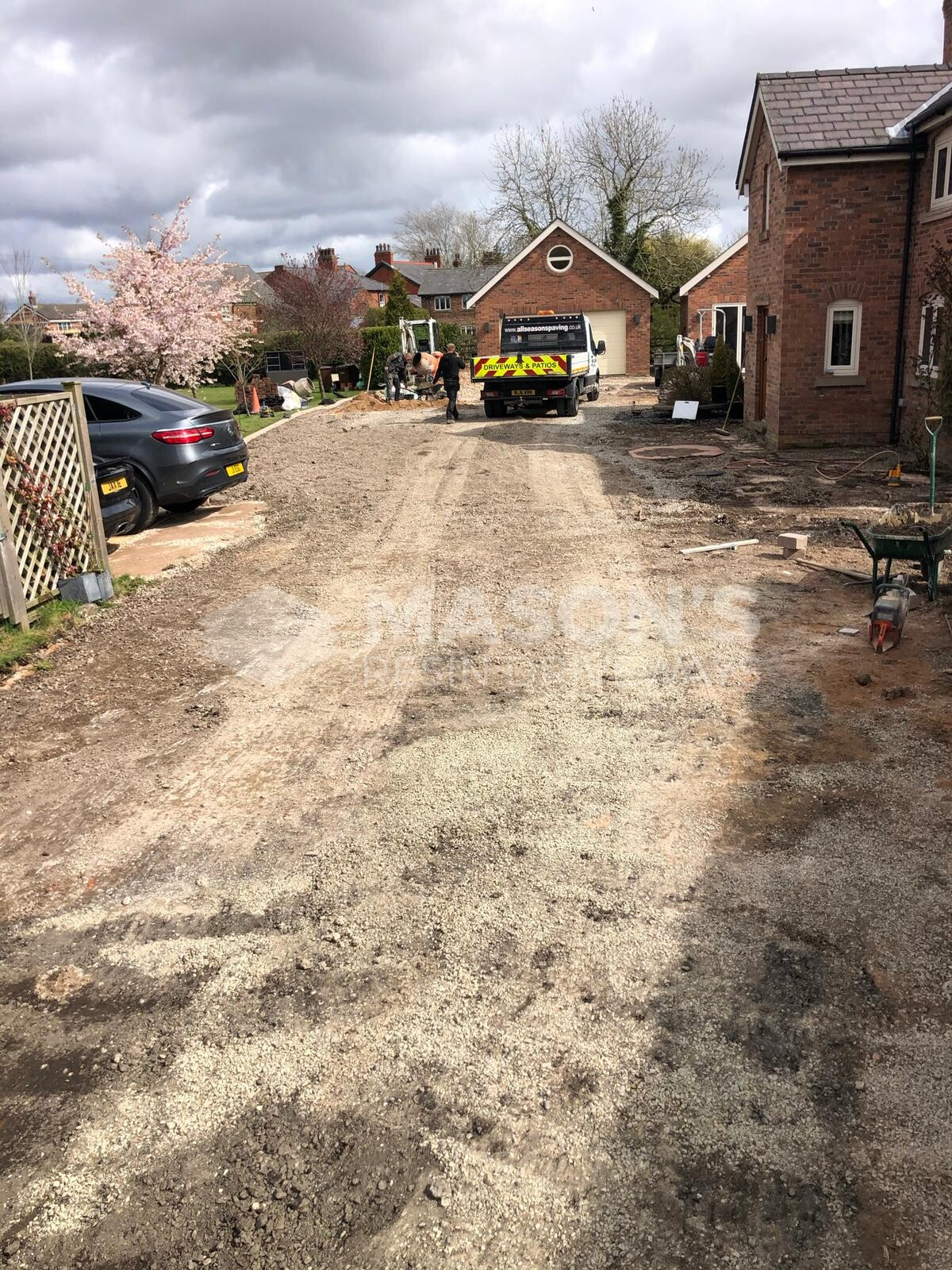 before process of driveway installation