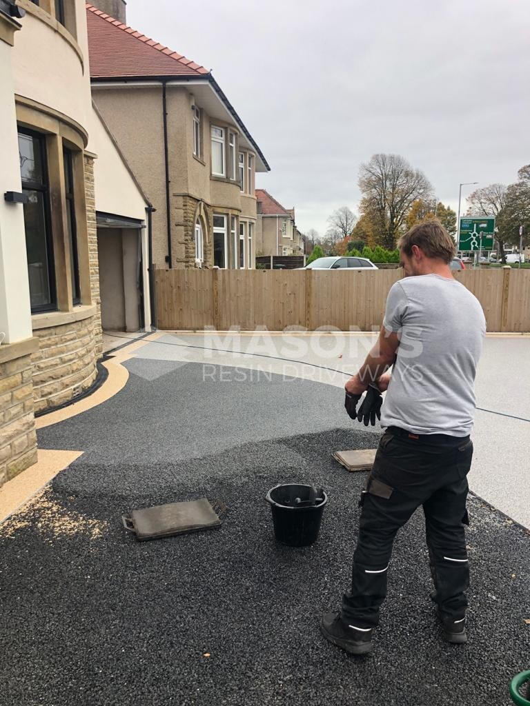 near completion of resin bound driveway Morecambe