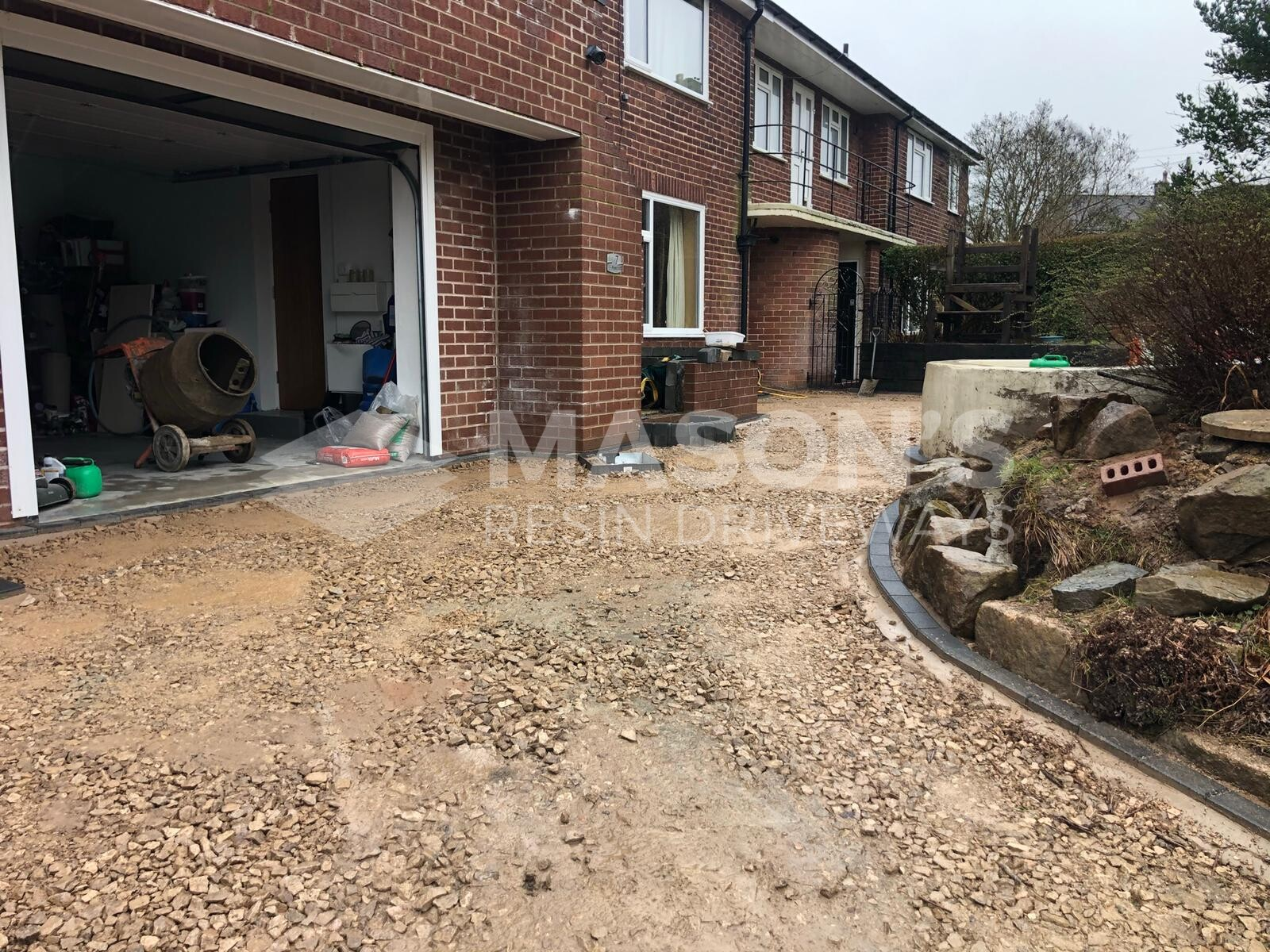 Another angle of process of resin bound driveway rose