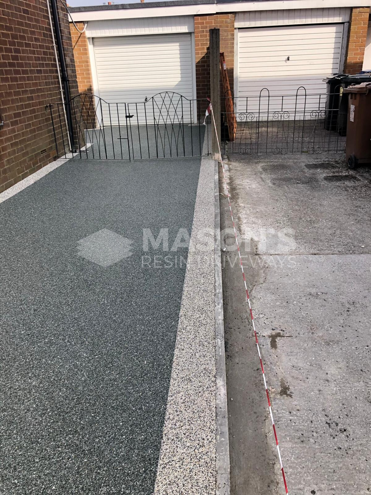 garage view slate grey resin bound driveway
